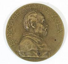 French medal: Hommage to Émile Zola