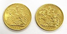 Lot of 2 gold British sovereigns