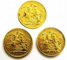 Lot of 3 gold British sovereigns