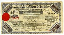 Lot of a share certificate of the Jewish Colonial Bank and a voucher of coupons