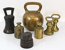 Lot of seven antique weights