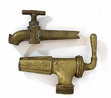 Lot of two antique brass taps