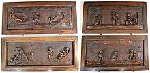 Lot of four carved wooden plaques