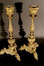 19th century Empire style bronze candle holders