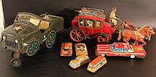 Lot of 7 vintage tin toys