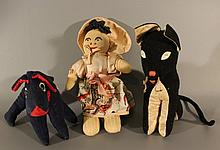 Lot of three hand-made dolls