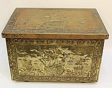 Wooden box covered with brass