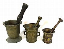 Lot of three sets of mortars and pestles