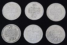 Lot of 6 50 mils coins British Mandate Palestine