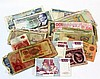 Lot of various worldwide banknotes