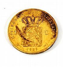 A Dutch 10 Gulden gold coin