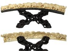 Mammoth Ivory Handcrafted Eight Walking Elephants Tusk