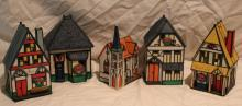 5pc Lot of Ceramic Votive Village