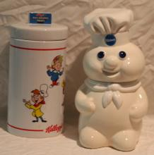 2pc. Lot Pilsbury Dough Boy Cookie Jar & Rice K+