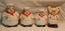 4pc. Lot of Chef Décor 3-Cansiters & Utinsil Holde