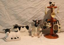 4pc. Lot of Cow Décor Includes Butter Dish, Napkin