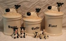 8pc. Lot of Cow Décor Includes 3 Canisters, 3++