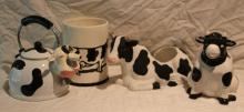4pc. Lot of Cow Décor Includes Ceramic Trash Can+