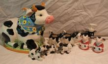 9pc. Lot of Cow Décor Includes Cookie Jar, 3 Figur
