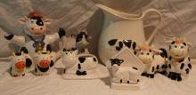 9pc. Lot of Cow Décor Includes Pitcher,Canister+