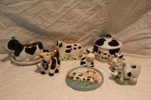8pc Lot of Cow Décor Includes Planter, Figurine+