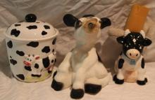 3pc Lot of Cow Décor Includes Cookie Jar+