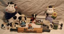 11pc Lot of Cow Décor Includes 2 Canisters, ++