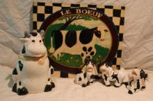 5pc Lot of Cow Décor Includes Canister, Picture+