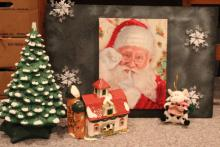 4 pc Lot of Holiday and Cow Holiday Décor +
