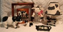 6pc. Lot of Cow Décor Includes Lamp, Planter+
