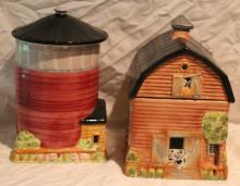 2pc. Canister set of Barn and Silo