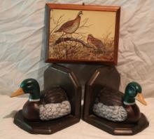 3pc. Lot Includes Duck Book Ends and Wall Art