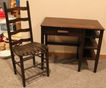 2pc. Wood Desk with Chair
