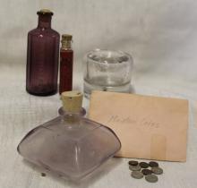 Antique & Vintage Glass Bottles + Miniature Coins