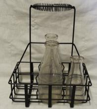 Metal Bottle Carrier w/ 3 Vintage Milk Bottles