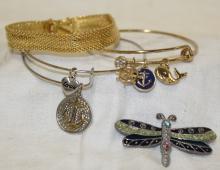 Lot of 3 Costume Bracelets + 1 Dragonfly Pin