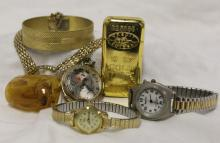 Vintage Costume Jewelry, Lighter, + Watches