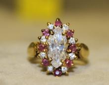 Gold-tone Sterling Silver Iolite + Ruby Ring