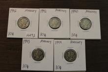 Lot of 5 Mercury Dimes, Various Dates