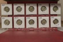 Lot of 10 Mercury Dimes, Various Dates