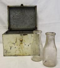 Vintage Milk Cooler & Vintage Milk Bottles