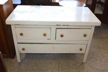 Vintage White-painted Dresser w/ 3 Drawers