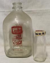 Vintage Pet Dairy Milk Bottle & Gallon Jug