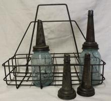 Antique Bottle Carrier + Oil Bottles + Spouts