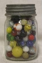 Vintage Atlas Canning Jar FULL of Vintage Marbles!