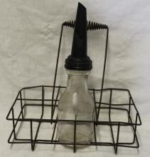 Antique Glass Oil Bottle w/ Bottle Carrier