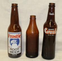 Lot of 3 Vintage Amber-Glass Soda Bottles