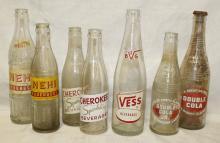 Lot of 7 Vintage Soda Bottles - Various Brands