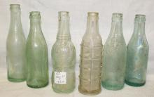 Lot of 6 Antique Soda Bottles - Various Brands