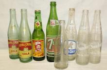 Lot of 8 Vintage Soda Bottles - Various Brands